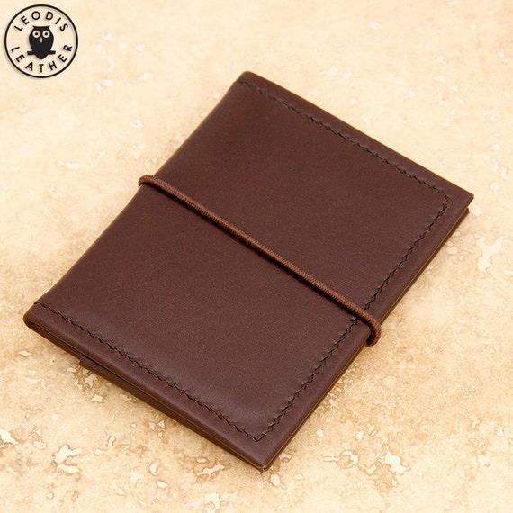 Leather ID/travel card holder (brown buffalo calf)