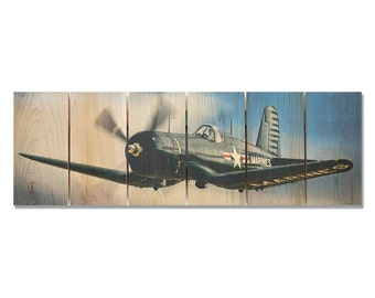 32x11 American Ace, WWII Corsair on Cedar, Classic Fighter Plane, Outdoor Safe Wall Art (AA3211)