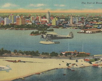 Antique Aerial View of The Port of Miami Florida with Goodyear Blimp Great Supplies for Scrapbook and Crafting Artisans