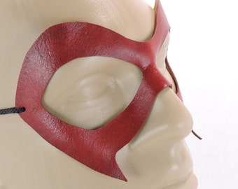 Ms. Marvel Mask - Red - Leather Superhero Mask Adult Womens