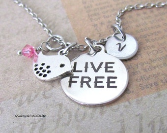Live Free Little Bird Charm Graduation Necklace, Personalized Hand Stamped Initial Birthstone Silver Motivation Bird Charm Necklace