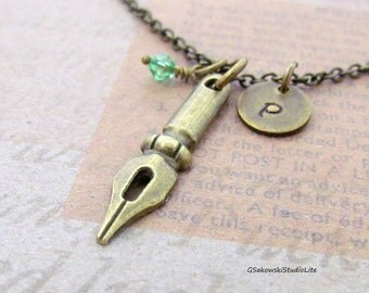 Fountain Pen Nib Charm Necklace, Personalized Hand Stamped Initial Birthstone Antique Brass Pen Nib Charm Necklace