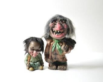 1960s HEICO West Germany Bobble Head Nodder Trolls - Set of Two