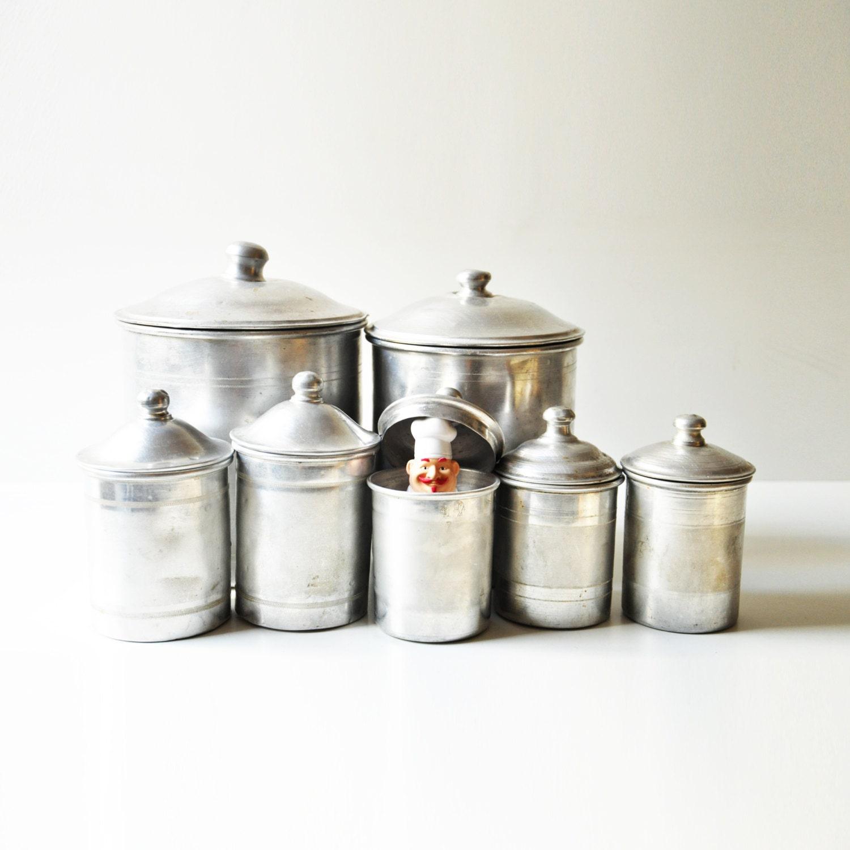 Set of 7 vintage aluminum kitchen canisters rustic kitchen for Kitchen set aluminium sederhana