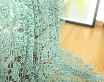 Shabby Chic Dusty Green 100% Hand Crochet  Fairy Tale Lace Blossom Bed Coverlet, Bed Thread, Bed Throws, Bed Cover, BC022