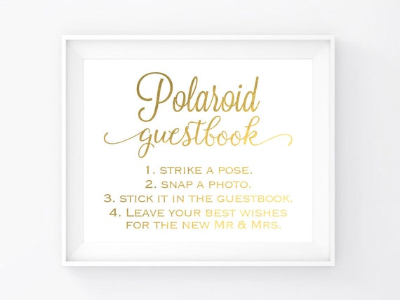 Instant Download Gold Foil Guestbook Sign 8X10