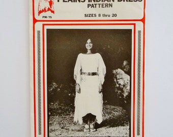 Leather Dress Plains Indian Costume Sewing Pattern, Eagle's View Patterns PM 75, Miss Sizes 8 - 20 UNCUT