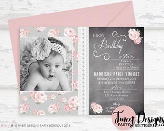 SHABBY CHIC INVITATION, Printable Vintage Rose Invitation, Vintage Invitation, Shabby Chic, Shabby Chic Chalk Scrolls Birthday Invitation