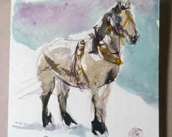 original watercolor Harnessed Horse in winter wall art