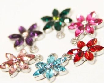 6 pcs of metal crystal floral charm pendant 13mm-1152 you can choose color