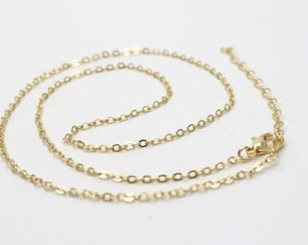6 pcs of ready made brass chain 2mm chain 18inch and 15inch with 2 inch extender-18k gold