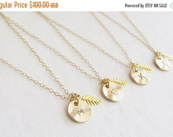 SALE Set of Four Initial Charm Gold Leaf Necklaces - Bridesmaid Necklaces - Personalized Necklace - Wedding Jewelry