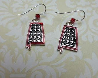 Alabama State Houndstooth and Crimson with Sterling Silver Earwire
