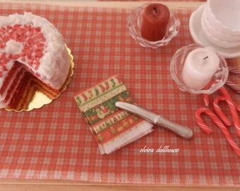 Christmas Towel, Dollhouse Miniature, 1:12 Scale Dolls House