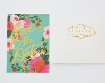Aqua Turquoise background and Pink Floral Gold Foil Script Save the Date Postcard