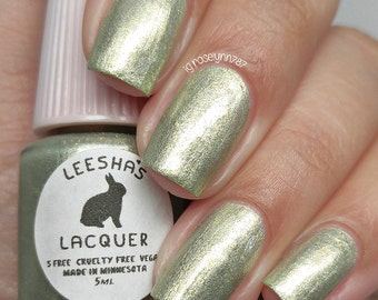 Green Metallic Pearl Nail Polish - Moss-Grown - The Unearthed Collection