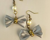 Light Blue Dangling Bow Earrings - Gothic Lolita Earrings - Pastel Goth Earrings
