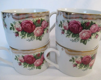 Vintage China Mugs, Retroneu The Prestige Collection English Roses, Coffee Mugs, Tea Cups - Set of 4