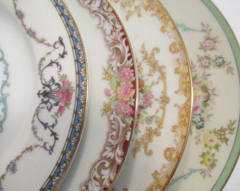 Vintage Mismatched China Dessert / Bread Butter Plates for Tea Party, Wedding, Hostess Gift , Bridal Luncheons,Bridesmaid Gift-Set of 4