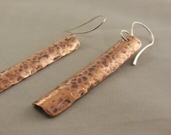 Copper shield hammered earrings