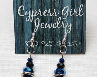 Blue and Black Beaded Drop Earrings