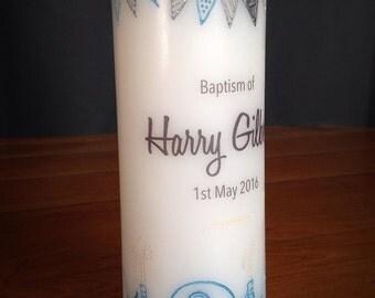 Baptism Christening Naming Day Candle 'ELEPHANTS ON PARADE' Blue