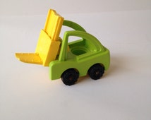 Vintage 1970's Fisher Price Green and Yellow / Little People Fork Lift Truck