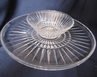 Chip - Dip dish/tray Vintage Clear Glass 50s