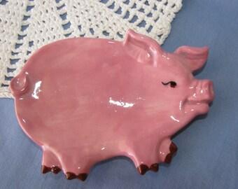 Pink Pig Ceramic Teabag Holder, Spoon Rest or Trinket Dish