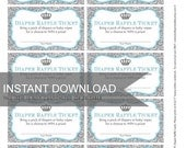 Diaper or Baby Wipes Raffle Ticket PDF file - Crown and Silver Glitter Light blue - Ready to print - DIY Print Your Own