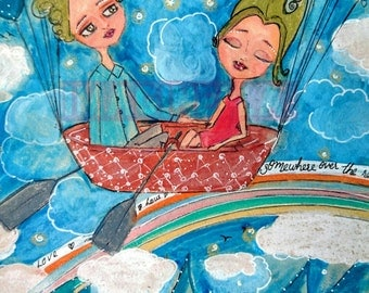 Print of original painting Mixed Media Girl and boy in a boat