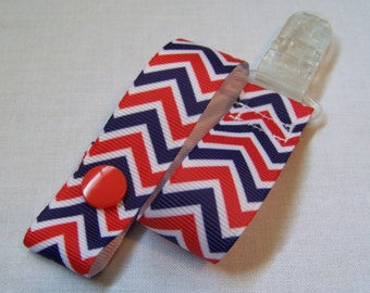 Nautical Chevron Pacifier Clip, Snaps Pacifier Clip and Universal Clip, Pacifier Holder, Binky Clip