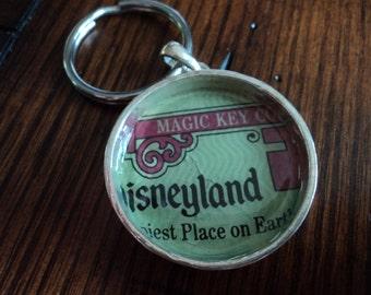 Vintage Disneyland ticket keychain