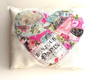 Pink heart word Pillow Patchwork Pillow Appliqued Pillow Flower Pillow Handmade Heart Love Pillow Pink & Teal Heart Pillow Sweetheart Gift