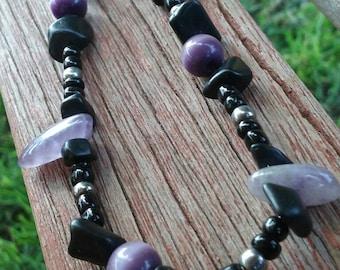 Amethyst Black Beaded Stretchy Bracelet