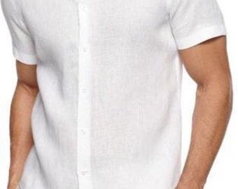 Man White Linen Shirt Short Sleeve Beach Wedding Groom Groomsmen Party Special Occasion Birthday Summer