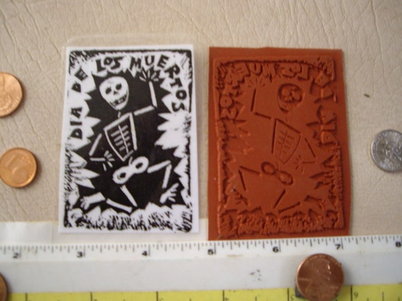 Dia de los muertos day of the dead carving style rubber