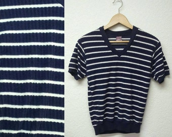 Vintage 70s Campus Terry Cloth V Neck Nautical Navy & White Striped Shirt Womens Short Sleeve Pullover Blue Horizontal Stripes 1970s Top