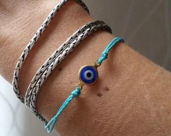 Blue Evil Eye -Celebrity Hamsa bracelet - Celebrity bracelet Blue Evil Eye  bracelet for men, gift for him, protection, judaica