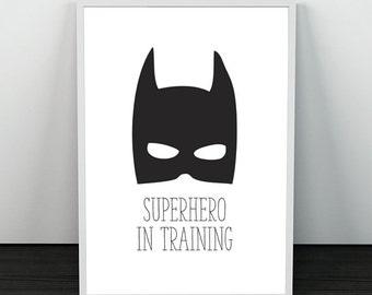 Super Hero In Training  A4 BW PRINT