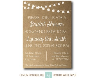 Rustic Bridal or Baby Shower Invitation with Light Bunting - Printable File-Custom Design- Rustic Style Wedding Invite