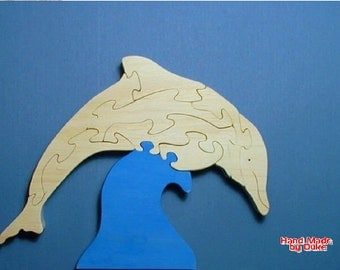 """Dolphin """"Riding Wave"""" Toy Wood Puzzle Cut On Scroll Saw"""