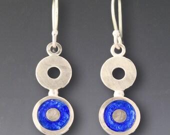 Blue Circle Dangle Earring Sterling Silver Royal