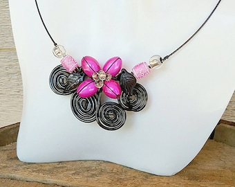 Clearance, Colourful necklace earring set, Tropical necklace, Flower necklace, Girly necklace, pink necklace, black necklace, Wirework