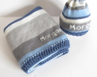 100% merino personalized knitted blanket and hat with a crochet hem - random stripes in blue, light blue, light and dark grey and white