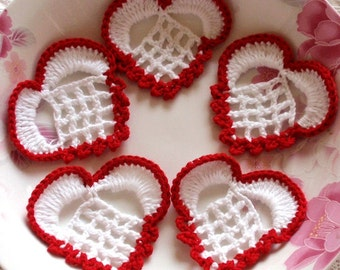 5 Crochet  Hearts  YH -319