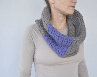 Color block cowl, crochet neckwarmer, circle scarf crochet scarf cowl in grey/brown and purple woolen women winter accessories