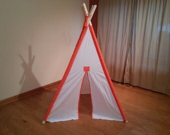 White Kids Play Teepee With Orange Accent sleeves  White Childrens Tent