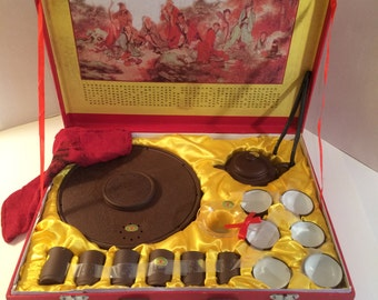 Chinese Tea Service in Purple Clay by Yixuan Zisha 15 Pieces / Service for 6 in Original Case Complete