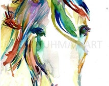 Summer Sale Horse Watercolor Painting Print, Print of Horse, Horse Painting, Watercolor Horse, Horse Art, Abstract Horse Painting, Animal Ar